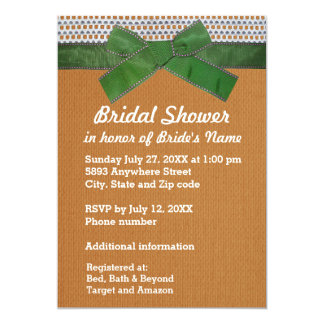 Green Ribbon, Lace, Tan Burlap Bridal Shower Inv 13 Cm X 18 Cm Invitation Card
