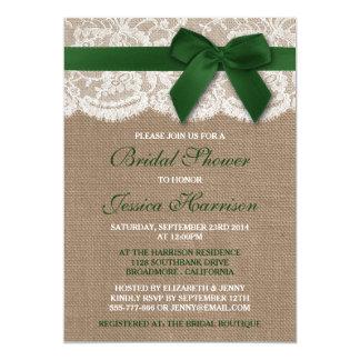 Green Ribbon On Burlap & Lace Bridal Shower Card