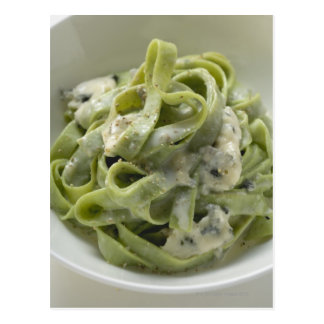 Green ribbon pasta with Gorgonzola sauce Postcard