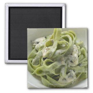 Green ribbon pasta with Gorgonzola sauce Square Magnet