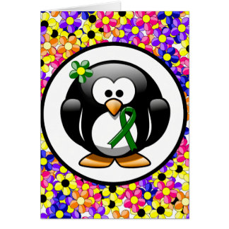 Green Ribbon Penguin Note Card