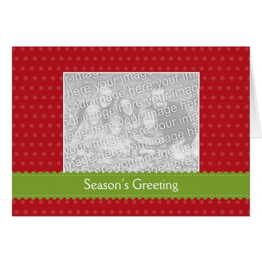 Green ribbon red photo Christmas holiday greeting Card
