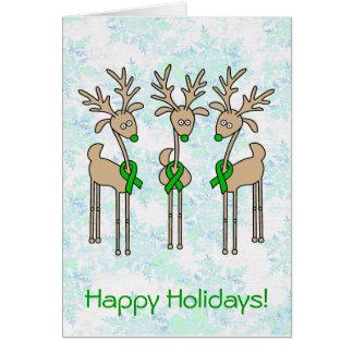 Green Ribbon Reindeer (Kidney Cancer) Card