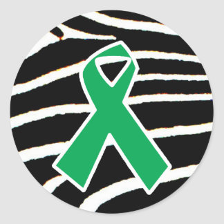 Green Ribbon Round Sticker