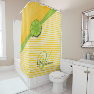 Green Ribbon, Two Tone Yellow Stripes Sunny Fabric Shower Curtain