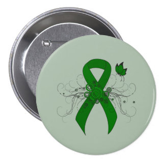 Green Ribbon with Butterfly 7.5 Cm Round Badge