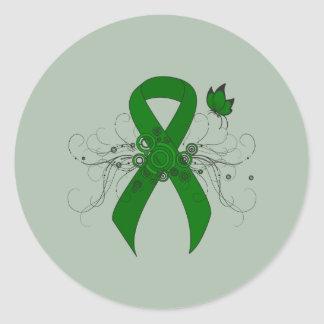Green Ribbon with Butterfly Classic Round Sticker
