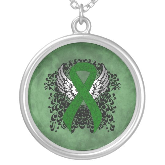 Green Ribbon with Wings Silver Plated Necklace