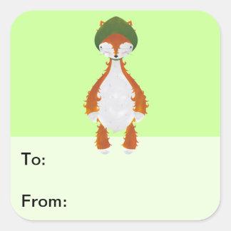 Green Riding Fox Gift Tag Square Sticker