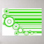 Green Rings & Stripes Print