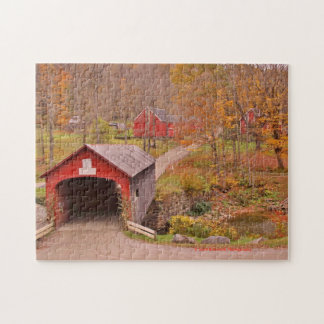 Green River Covered Bridge and Barn in the Fall Jigsaw Puzzle