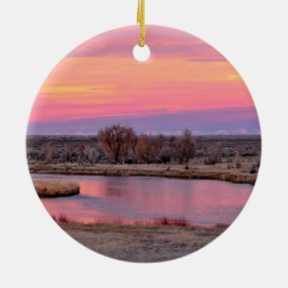 Green River Sunset Wyoming Round Ceramic Decoration