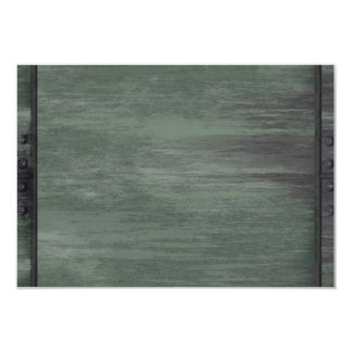 Green riveted steel texture 9 cm x 13 cm invitation card