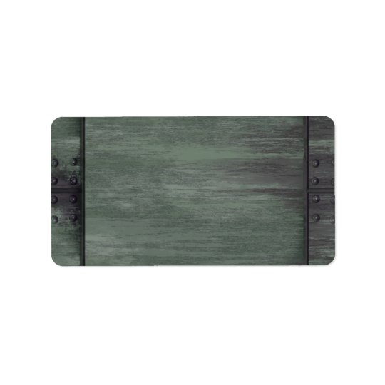 Green riveted steel texture address label