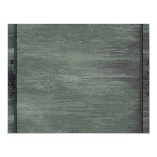 "Green riveted steel texture 4.25"" x 5.5"" invitation card"