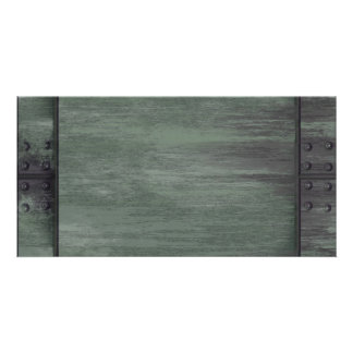 Green riveted steel texture photo cards
