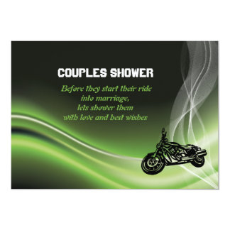 Green road biker/motorcycle wedding couples shower card