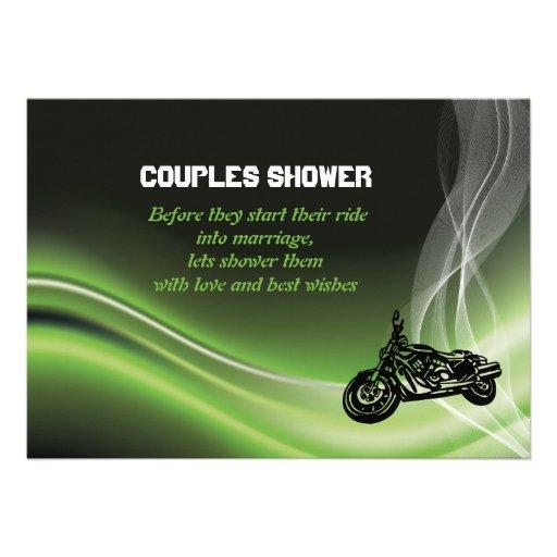 Green road biker/motorcycle wedding couples shower invitation