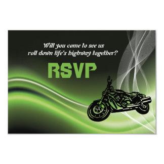 Green road biker/motorcycle wedding RSVP response 9 Cm X 13 Cm Invitation Card