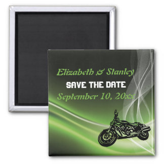 Green road biker/motorcycle wedding Save the Date Refrigerator Magnets