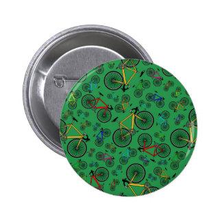 Green road bikes 6 cm round badge