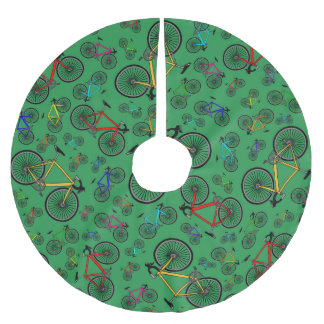 Green road bikes brushed polyester tree skirt