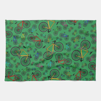 Green road bikes tea towel