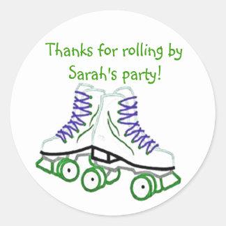 Green Roller Skate Birthday Sticker