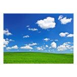 Green rolling hills under blue sky announcement
