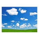 Green rolling hills under blue sky custom invitation