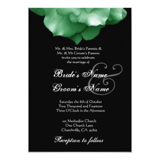 GREEN Rose Petals Wedding Invitation