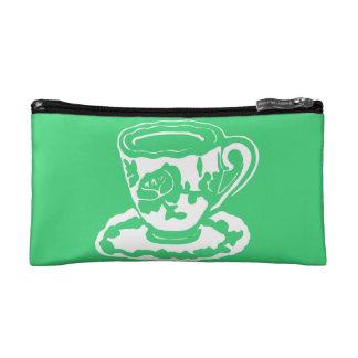 Green Rose Teacup Cosmetic Bag
