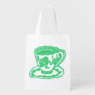 Green Rose Teacup Reusable Grocery Bag