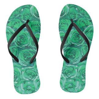 Green Roses Flip Flops