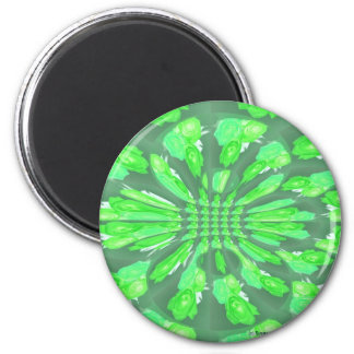 Green Roses Pattern 6 Cm Round Magnet