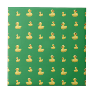 Green rubber duck pattern small square tile