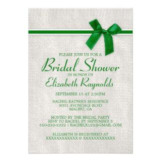 Green Rustic Burlap Bridal Shower Invitations Custom Invitations