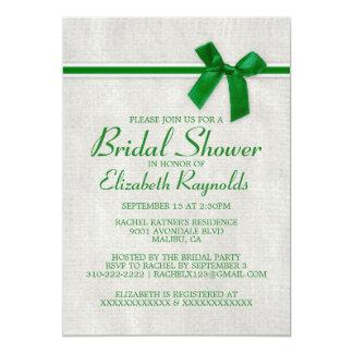 Green Rustic Burlap Bridal Shower Invitations
