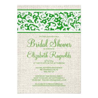 Green Rustic Burlap Linen Bridal Shower Invitation Invite