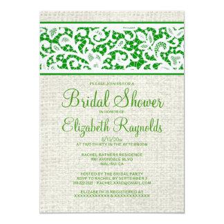 Green Rustic Burlap Linen Bridal Shower Invitation
