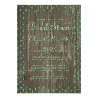 Green Rustic Country Bridal Shower Invitations Cards