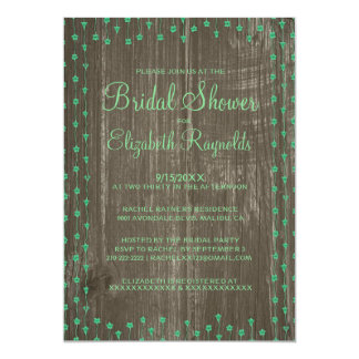 Green Rustic Country Bridal Shower Invitations