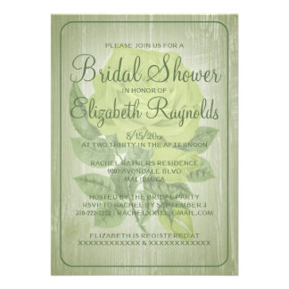 Green Rustic Floral Bridal Shower Invitations Custom Invites