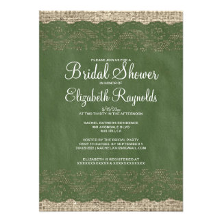 Green Rustic Lace Bridal Shower Invitations Invite