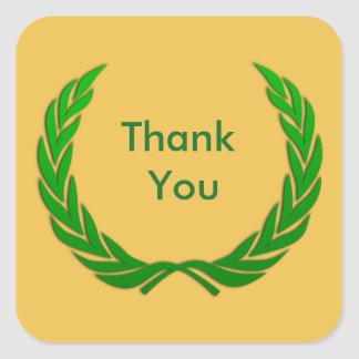 Green Rustic Laurel Wreath Thank You Square Sticker