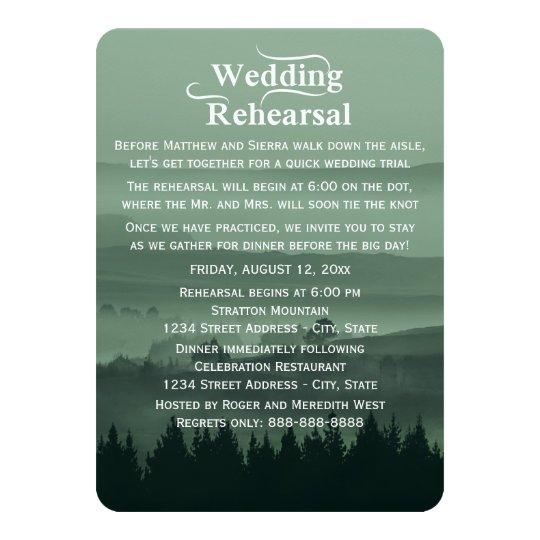 Green Rustic Mountain Wedding Rehearsal Dinner Card