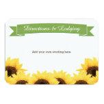 GREEN RUSTIC SUNFLOWER ENCLOSURE INSERT 9 CM X 13 CM INVITATION CARD