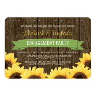 GREEN RUSTIC SUNFLOWER ENGAGEMENT PARTY INVITATION