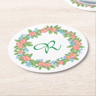 Green rustic vintage Floral Wreath Coasters Round Paper Coaster