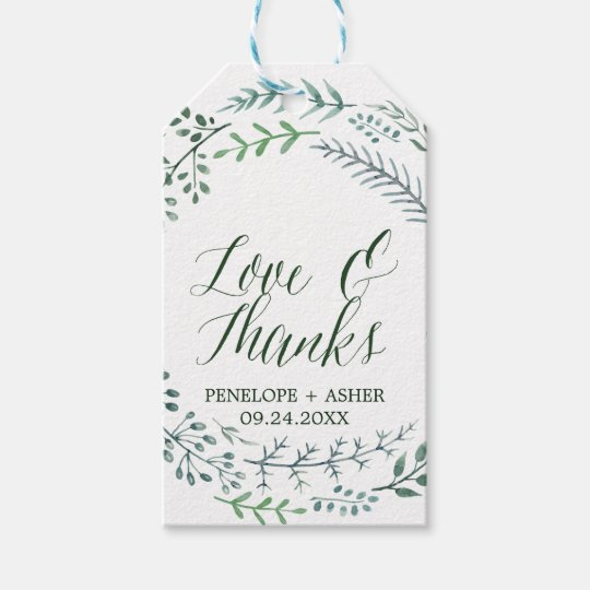 "Green Rustic Wreath ""Love & Thanks"" Wedding Gift"